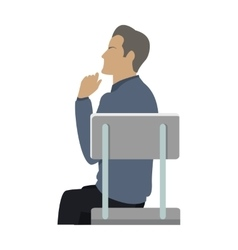 Side view of businessman sitting on chair vector