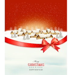 Holiday christmas winter background with a village vector