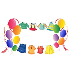 Hanging clothes with colorful balloons vector