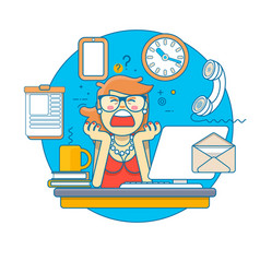 multitasking stressed business woman in office vector image