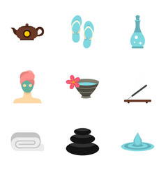 Relaxing therapy icons set flat style vector