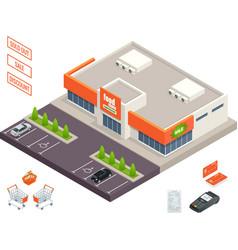 supermarket exterior credit cart pos terminal vector image