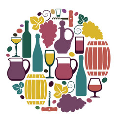 The symbols of wine and grapes vector