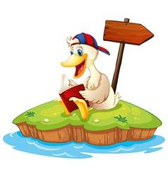 A duck reading beside the empty arrowboard vector image