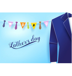 Paper art style blue suit with neckties hanging vector