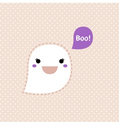 Cute kawaii ghost isolated on dots background vector