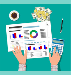 Financial calculations working process vector