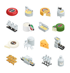 Cheese production isometric icons collection vector