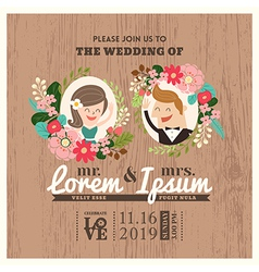 Wedding invitation card with cute groom and bride vector