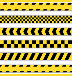 Set of yellow barrier tapes vector