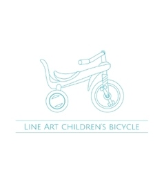 Line art childrens bicycle two vector