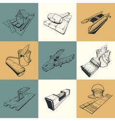 Set of nine with building tools vector image