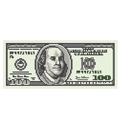 Pixel one hundred dollars isolated vector