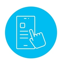 Finger touching smartphone line icon vector