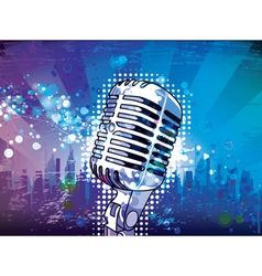 Microphone with urban background vector