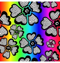 Rainbow floral seamless pattern with gradient vector image