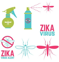 Zika virus alert set of design elements vector