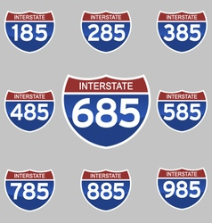 Interstate signs 185-985 vector