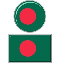 Bangladeshi round and square icon flag vector image