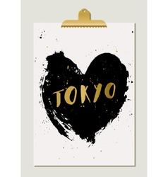 Black Heart Tokyo Poster vector image