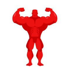 bodybuilder red cartoon athlete with big muscles vector image vector image