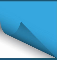 curled corner of blue paper with shadow vector image vector image