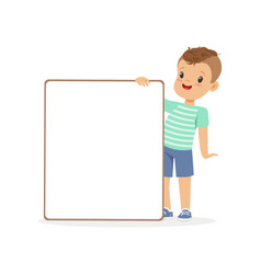 cute boy character with white empty message board vector image