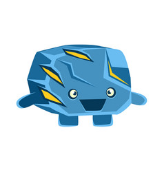 Cute cheerful surprised blue rock element cartoon vector