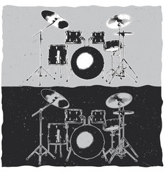 drums in music theme t-shirt label design vector image vector image