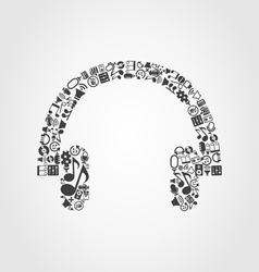 Earphone music vector image vector image
