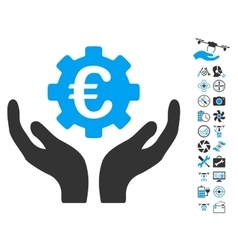 Euro maintenance hands icon with copter tools vector