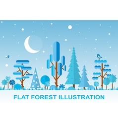 Flat winter forest night vector