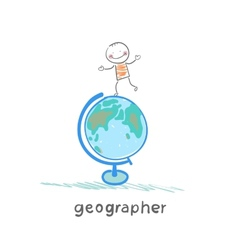 geographer is on the globe vector image