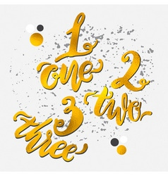 Golden alphabet numbers hand-drawn doodle sketch vector