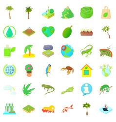 grass icons set cartoon style vector image