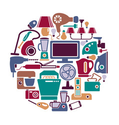 home appliances in the form of a circle vector image vector image