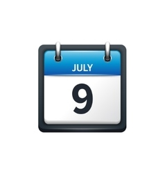 July 9 calendar icon flat vector