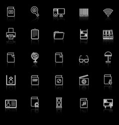 library line icons with reflect on black vector image vector image