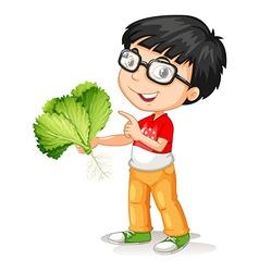 Little boy holding fresh vegetable vector