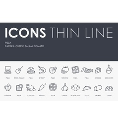 Pizza thin line icons vector
