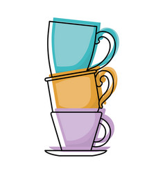 porcelain cup stack colorful watercolor silhouette vector image