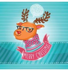 PrintChristmas deer in hipster glasses vector image vector image