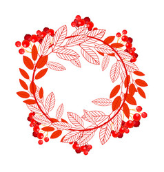 round frame with leaves and ashberry berries vector image vector image