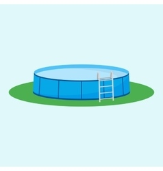 Single above ground pool on the grass vector image
