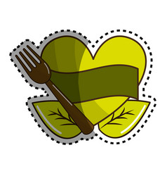 Sticker green heart with ribbon fork and leaves vector
