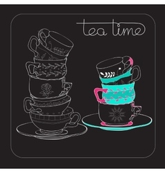 Tea Time card with hand drawn cup isolated on vector image vector image
