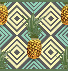 Tropical seamless pattern with pineapples exotic vector