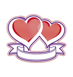 Two love hearts with ribbon vector