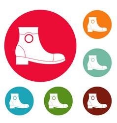 Woman shoes icons circle set vector