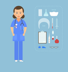 women nurse in a blue uniform and medical vector image vector image